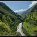 The Siyar Khola River runs through the lush Tsum Valley near the Tibet border, Nepal