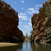 Ellery Creek Waterhole (Padmacara) Tags: australia g11 ellerycreekbighole rock water tree sky clouds square