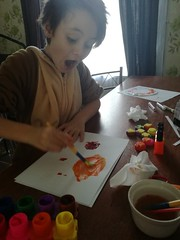 When he realised two colours make another! (apeacefulheart) Tags: surprise painting homeeducation homeschooling learning family child children atplay play