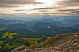 Airy view over South Tyrol from the Rosengarten / Catinaccio group