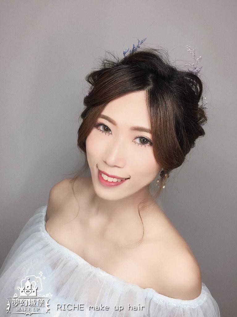 【新秘RICHE】新娘造型創作 / 鮮花低馬尾造型