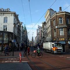 Rembrandtplein, Amsterdam #streetphotography (milov) Tags: instagram phonecam nexus5x fbme tweetme square sunny amsterdam rembrandtplein people bicycle tracks cropped munttoren