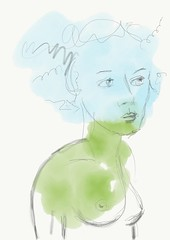 Erde & Luft (bornschein) Tags: paper aquarell watercolour blau grün green blue sketch skizze woman drawing illustration