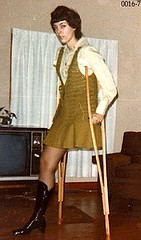 Best foot farward 1970s Monopede Girl (jackcast2015) Tags: handicapped disabled disabledwoman cripledwoman onelegwoman oneleggedwoman monopede amputee legamputee crutches crippledwoman