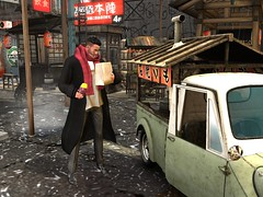 Street Food (ScottSilverdale) Tags: postapocalypse finedining cuisine streetfood fastfood trendyeating cosmopolitan citylife tokyo japan asia idontknowwhatitisbutilikeit streetvendor vintagevan neon night nightlife tourist traveller exploring secondlife sl vacation holiday shops urban scarf coat k360 mazdak360 mazda 3wheelvehicle