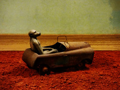 The Single Seater (Steve Taylor (Photography)) Tags: ape monkey animal art digital sculpture brown green red calm metal stone gravel uk gb england greatbritain unitedkingdom london texture car automobile 1960s africa africanadventure hybrid redearth southafrica tatemodern bushmanland janealexander soil