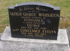 Headstone - Arthur George Warburton and Constance Evelyn Cutforth