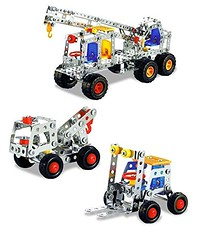 Lightahead Assembly Metal Model Kits Toy Building Puzzles Metal 3 Vehicle Models Kits Construction Play Set, 542 pcs (Crane, Recovery truck, Forklift truck) (saidkam29) Tags: assembly building construction crane forklift kits lightahead metal model models play puzzles recovery truck vehicle
