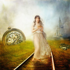 I thought the Train would never come (BirgittaSjostedt) Tags: creation story fairytale romantic fantasy woman castle track nature birgittasjöstedt
