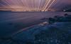 Light Pillars (Bunaro) Tags: vuosaari aurinkolahti uutela suomi helsinki finland europe long exposure sea landscape cityscape water rocks nature sunset yokfeed
