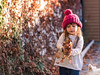 I can do it, mom (Bai R.) Tags: autumn fall leaves sunset pink hat wool