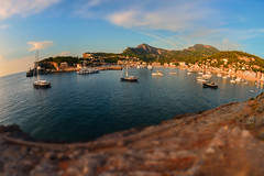 Bay view..... (Dafydd Penguin) Tags: shift tilt minature effect harbour harbor port dock water waterside harbourside sea seaside town coast coastal boats yachts sailboat mooring anchorage soller mallorca spain nikon df nikkor 16mm af f28d fisheye fanatics