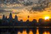 Watch the sun rise at Angkor Wat (Xversion1) Tags: suryavarmanii landscape sunset nature reflection monument orange heritage lake angkorwat icon world religion sun jayavarmanvii unesco wonder architecture travel cloud hdr sunrise trip sunlight cambodia siemreap temple sky