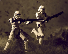 Get on the Battlefront (jezbags) Tags: sepia toy bandai sh figuarts star wars stormtroopers battlefront sand macro macrophotography macrodreams canon60d canon 60d 100mm closeup upclose starwars stars stormtrooper trooper troopers dirt rock explosion practical effects
