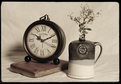 untitled (N.the.Kudzu) Tags: home tabletop stilllife book clock pottery pentaxk3 dxoopticspro11