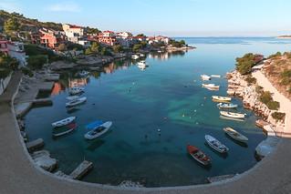 Little port to the Adriatic Sea near Primosten Croatia