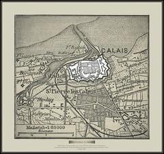 s0728 Calais - Situationsplan von Calais  6079 MeyA4B3 Meyers Dritter Band Konversationslexikon Verlag des Bibliographischen Instituts Leipzig und Wien Vierte Auflage 1889.