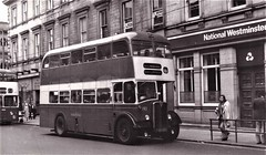 Huddersfield Corporation Bus 193 in Huddersfield. (ManOfYorkshire) Tags: 193 bus bodied aec regent5 regentv pvh993 eastlancs huddersfield joc omnibus committee corporation redcream holmbridge holmfirth 494 atlantean leyland route22 1970 1960