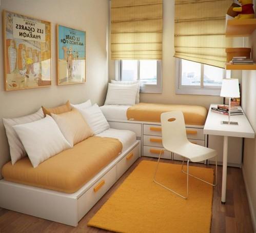 small-kid-bedroom-ideas-orange-soft-foam-sofa-seat-rattan-light-filtering-shades-grey-floor-decor-square-white-minimalist-wood-child-bed--593x539
