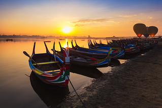 The local boat in taungthaman lake near U Bein bridge, Mandalay Myanmar
