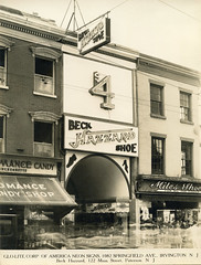 Glo-Lite Corporation of Neon Signs (jericl cat) Tags: glolite corporation neon signs sign vintage sales photo sample irvington newjersey beck hazzard shoe 122 main street paterson new jersey store facade 4 arch entrance storefront miles romance candy signage manufacturer