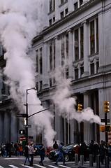 "Dey St. at Broadway, Still ""smoking"" (sjnnyny) Tags: deyst broadway conedwork street repair streetscene nyc lowermanhattan traffic people pedestrians nikond7500 afmicronikkor55mmf28 stevenj sjnnyny city crosswalk urban streetsigns"