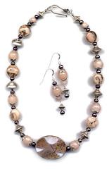 Sorbet series: Peach & Blackberry (elizabatz.jensen) Tags: quartz stone semiprecious necklace earrings jewelry smokyquartz peachaventurine peachfeldspar peachmoonstone silver picassojasper