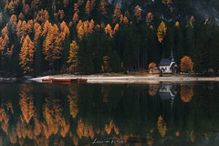 A Matter of Time (Leonardo Papèra Photography) Tags: lake reflections braies dolomiti dolomites autumn fall autunno reflect reflection mirror larches church storm rain snow pragsee wildsee wild explore walk hike outdoor adventure