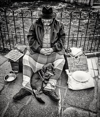 One Dog and his Man (Andy J Newman) Tags: france monochrome om paris street beard beggar blackandwhite candid dog hat man notredame olympus portrait silverefex îledefrance fr explore flickrexplore