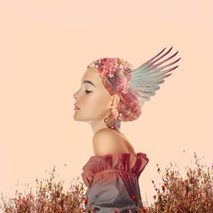 Wing and a Prayer ('_ellen_') Tags: profile pink girl grass flowers scarf