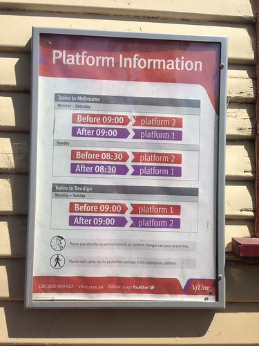 Platform information sign at Macedon Railway Station