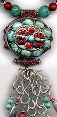 Detail of the Tibetan Gau Box pendant with turquoise, red coral and sterling silver (elizabatz.jensen) Tags: jewelry necklace coral silver sterling detail tibetan gaubox pendant turquoise red