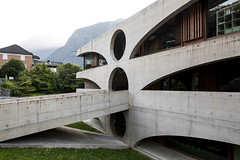 Schoolhouse. (Stefano Perego Photography) Tags: stepegphotography building school concrete circles geometry geometric modern contemporary architecture design grono switzerland raphael zuber edificio scuola cemento cerchi geometria geometrico architettura moderna contemporanea svizzera stefano perego wall window arch