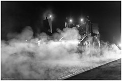 Monster rolls out the steam (jerry_lake) Tags: 24thnov2017 a412 cleehillroller d4 fineartefexpro nikon50mmf14 nikond4 silverefexpro2 hottarmac nightshot roadroller roadworks bomagbw161ad