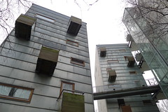 Apartment housing, Stuttgart Nordbahnhof, Germany, by architects Mecanoo. (Winfried Scheuer) Tags: balcony bridge metal wood angular avantgarde horizontal pattern modernist cube mecanoo brünner str dutch architecture cool