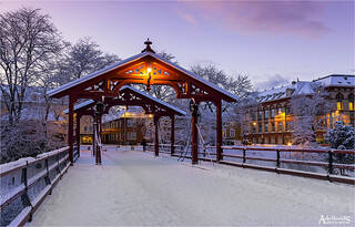 Winter on the Bridge in Trondheim, Norway