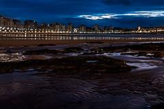 Reflections in the night (cangués) Tags: gijón asturias spain color sea beach night longexposure water sky light