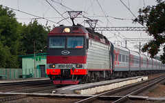 Russian Railways: EP10-003 with passenger train by Amir Nurgaliyev - Dual voltage EP10 series used to operate fast trains to Russian southern resorts like Sochi on summer time. The series currently replaced with EP20 model and almost all of 12 built EP10 locomotives are not in service.  [RZD Moscow-Ryazanskaya depot / РЖД ТЧЭ-6 Москва-Сортировочная-Рязанская] EP10-003 / ЭП10-003  Lagerniy, Ryazan, RU