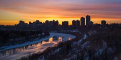 Colour Band, Edmonton, Alberta (WherezJeff) Tags: alberta edmonton sunset cityscape ice river skyline canada ca d850 silhouette winter northsaskatchewan