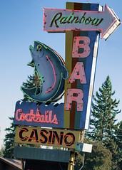 Somehere over the Rainbow (Marion Brite) Tags: montana casino liquor front poker rear gamble neon sign trout fish slots cash chips