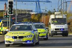 LJ15 BVH (S11 AUN) Tags: northumbria police bmw 330d 3series xdrive saloon anpr traffic car roads policing unit rpu motor patrols 999 emergency vehicle lj15bvh lj15bvc cleveland vw crafter lt46 operational support osg pov public order psu carrier nx53jvz