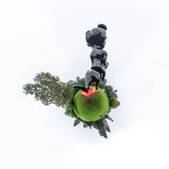 First Rider (HamburgerJung) Tags: panasonic gm5panasonic gm5 nordart büdelsdorf rendsburg schleswigholstein walimex kunst art skulptur aesf stereographic planet littleplanet