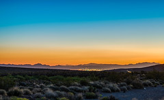 Looking Back on Las Vegas (tquist24) Tags: hdr lasvegas mojavedesert nevada nikon nikond5300 outdoor redrockcanyonnationalconservationarea blue city desert geotagged horizon landscape morning mountains orange sky sunrise unitedstates