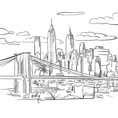 Manhattan and Brooklyn Bridge detailed Sketch (Hebstreits) Tags: architecture art artwork black bridge brooklyn building card city cityscape detail detailled drawing drawn greeting hand illustration isolated line manhattan modern monument new outline print scene sign silhouette sketch skyline skyscraper symbol travel urban vector view white york