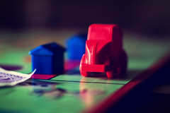 """Rent! - Macro Mondays """"Game Pieces"""" (331/365) (iratebadger) Tags: nikon nikond7100 d7100 england 35mm f18 focus blur bokeh black blue red car toy game monopoly boardgame house macromonday gamepieces money inside light lighting green iratebadger project365"""
