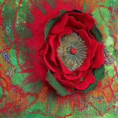 Felted red poppy. (pestinairina) Tags: poppy red flower felt art fiore rosso papavero arte feltro nuno felting macro wall design фелтинг мак красный цветок