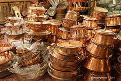 Copper Pots & Pans - Vakil Bazaar Shiraz Iran (WanderingPJB) Tags: iran islamicrepublic islam shiraz vakilbazaar market copper pots pans smileonsaturday shinymetals