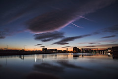 Blue hour on the first day of meteorological winter winter (Jo Evans1) Tags: first day meteorological winter uk prince wales dock swansea blue hour magenta clouds smq
