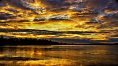 A Fella could easily get a Neck Ache living here !! (Bob's Digital Eye) Tags: 2017 bobsdigitaleye canon canonefs1855mmf3556isll clouds dramaticskies flicker flickr frozenlake ice laquintaessenza lakesunsets lakescape landscape november orange silhouette sky t3i trees winter yellow sunset