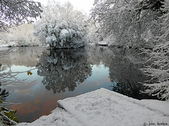 First snow of the winter 02 (Row 17) Tags: england shropshire telford pond lake lakes lakeside trees water snow winter woods woodland reflection reflections